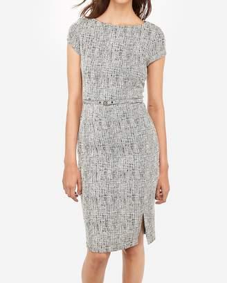 Express Jacquard Belted Front Slit Sheath Dress