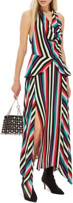 Topshop Stripe Halter Maxi Dress