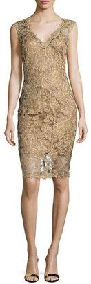 Tadashi Shoji Sleeveless Lace Cocktail Dress, Gold $368 thestylecure.com