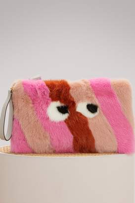 Anya Hindmarch Large Eyes Fur clutch