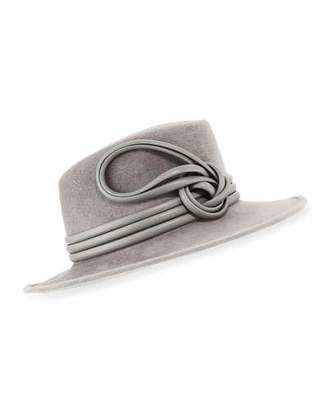 Philip Treacy Raiders Trilby Velour Hat w/ Leather Trim