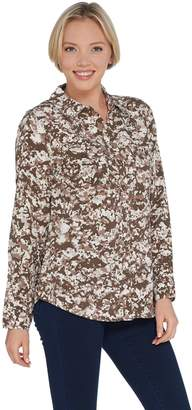 Denim & Co. Stretch Woven Camo Print Button Front Collared Shirt