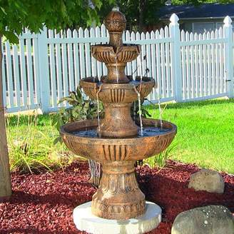 SunnyDaze Decor Fiberglass/Resin Flower Blossom 3-Tiered Electric Water Fountain