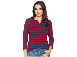 Chaps Lightweight Stripe Cotton Jersey 3/4 Knit Women's Clothing
