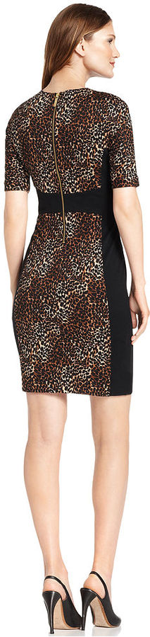 MICHAEL Michael Kors Dress, Short-Sleeve Animal-Print Colorblock Sheath