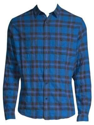 The Kooples Plaid Denim Button-Down Shirt