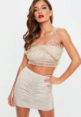 Missguided Nude Mesh Frill Tie Side Bralette