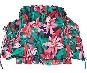 Marissa Webb Leona Off-The-Shoulder Floral-Print Cotton-Poplin Top