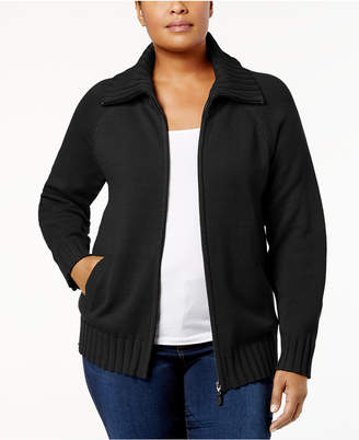 Karen Scott Plus Size Wing-Collar Zip Cardigan