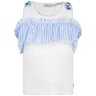 MET METWhite & Blue Striped Modec Top With Pearls