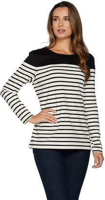 Denim & Co. Long Sleeve Striped Top with Solid Faux Suede Yoke