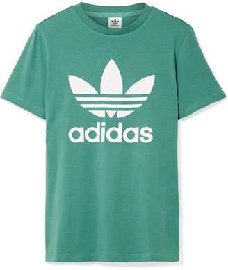adidas Trefoil Printed Cotton-jersey T-shirt - Jade
