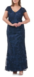 JS Collections Soutache Embroidered V-Neck Trumpet Gown