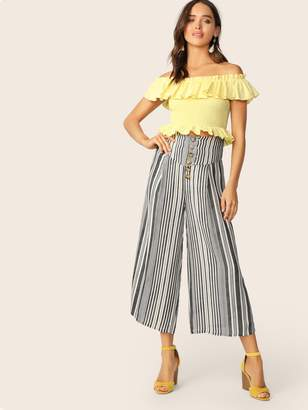 Shein Wide Band Waist Buttoned Fly Wide Leg Striped Pants