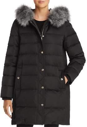 Kate Spade Faux Fur Trim A-Line Puffer Coat