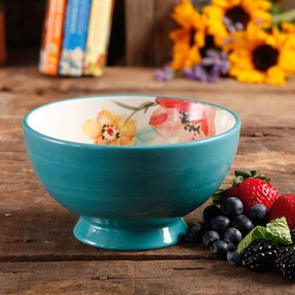 """The Pioneer Woman Flea Market 6"""" Decorated Footed Bowls, Turquoise & Floral, Set of 4"""