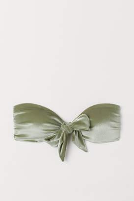 H&M Velour Bandeau Bikini Top - Green