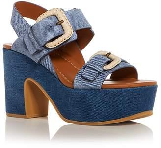 See by Chloe Women's Denim Print Suede High-Heel Platform Sandals