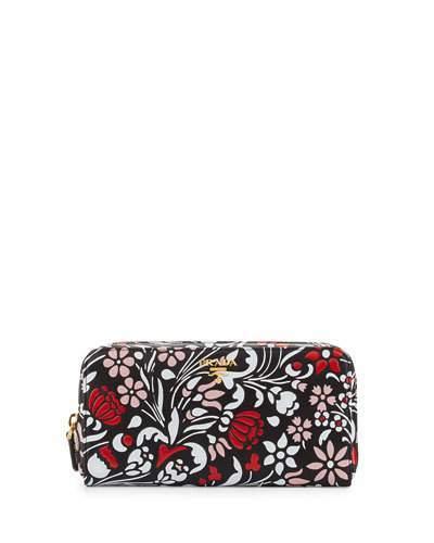 pradaPrada Debossed Floral Zip-Around Wallet, Black/Multi