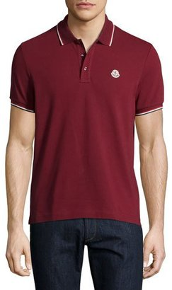 Moncler Tipped Piqué Polo Shirt, Red $170 thestylecure.com