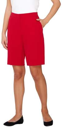 Susan Graver Coastal Stretch Zip Front Bermuda Shorts
