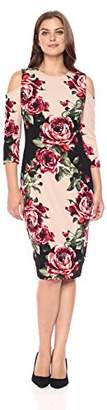 Jax Women's Cold Shoulder Floral Print Midi Sheath