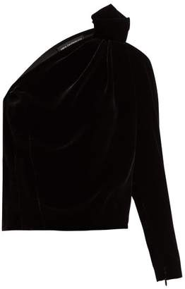 Vika Gazinskaya One Shoulder Knot Detail Velvet Top - Womens - Black
