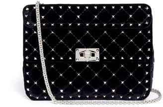 Valentino 'Rockstud Spike' medium quilted velvet crossbody bag