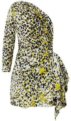 Roberto Cavalli One-Shoulder Printed Silk Mini Dress