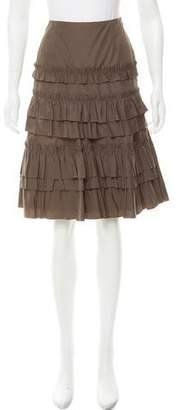 Akris Punto Ruffle-Trimmed Knee-Length Skirt w/ Tags
