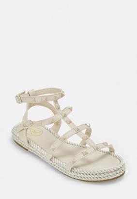 Missguided Nude Espadrille Stud Gladiator Sandals