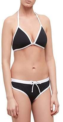 Kenneth Cole Reaction Women's On The Edge Halter Push Up Bra Bikini Top with Adjustable Neck Ties