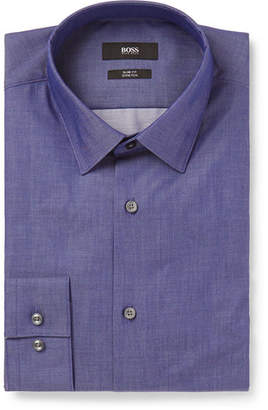 HUGO BOSS Blue Isko Slim-Fit Stretch-Cotton Chambray Shirt