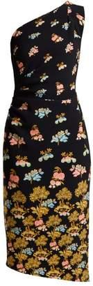 Peter Pilotto Floral Print Cady Midi Dress - Womens - Blue