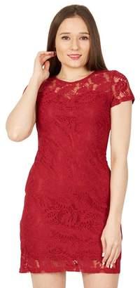 Izabel London Red Short Sleeved Lace Dress