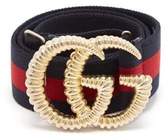 Gucci Gg Logo 4cm Elasticated Web Stripe Belt - Womens - Navy