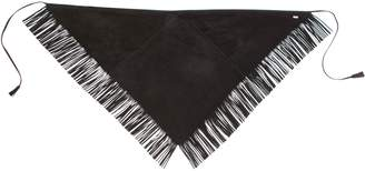 Saint Laurent Fringed Suede Triangle Scarf