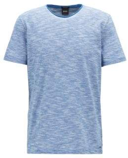 BOSS Hugo Mouline T-shirt raw-cut crew neckline L Open Blue