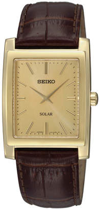 Seiko Watch, Men's Solar Brown Leather Strap 28mm SUP896