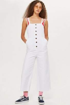 Topshop Petite White Denim Horn Button Pinafore Dress
