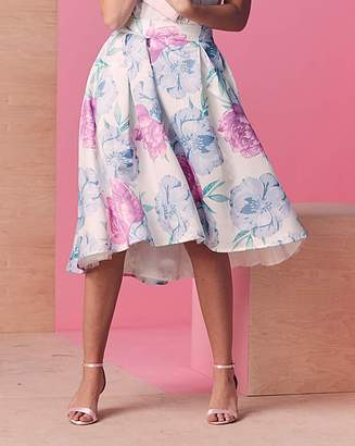 Fashion World Hi Low Hem Print Prom Skirt