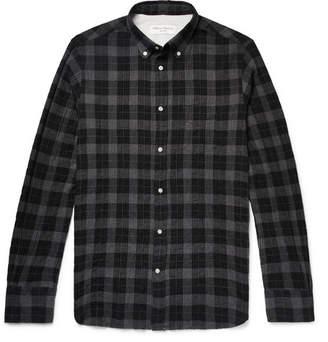 Officine Generale Slim-Fit Button-Down Collar Checked Cotton-Blend Shirt