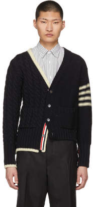 Thom Browne Navy Half and Half Cardigan