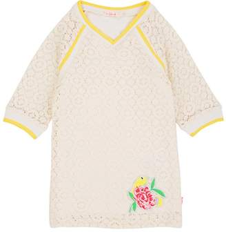 Billieblush KIDS' APPLIQUÉD CROCHETED-LACE DRESS