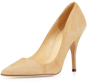 Kate Spade New York Licorice Suede Point-Toe Pump, Light Camel