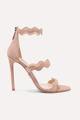0a20efd57f46 Prada 115 Scalloped Suede Sandals - Beige