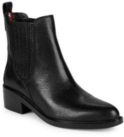 Tommy Hilfiger Wezley Pebbled Leather Stacked-Heel Booties