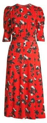 Derek Lam Puff-Sleeve Floral Midi Dress