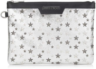 DEREK/S Champagne Glitter Leather Document Holder with Multi Metal Stars