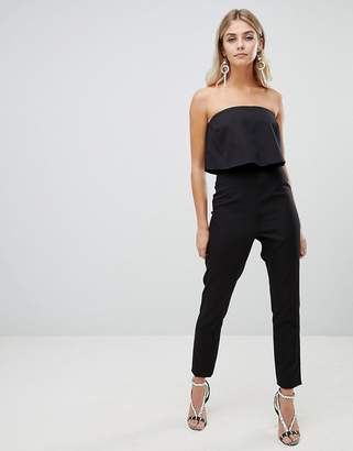 Missguided layered bandeau jumpsuit in black
